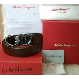 Stylish Salvatore Ferragamo Belt for Men - Silver Buckle Brown Leather Belt