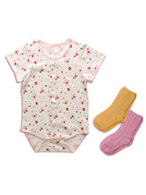 Set Of 1 Baby Bodysuit+ 2 Pair Of Anti-skid Socks,...