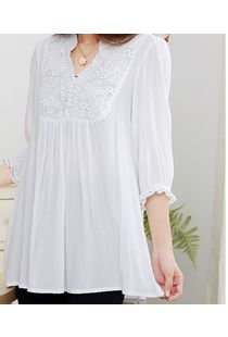 White Maternity Top with Lace Yoke, medium