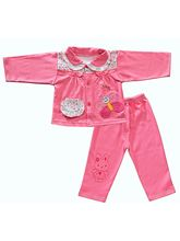 Bright Pink Floral Print Night Suit Set For Cute L...