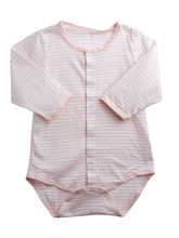 Full Sleeve Baby Bodysuit In Peach And White Strip...