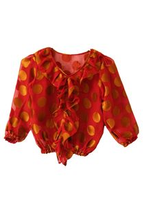 Maroon & Gold Polka Frilly Top, 7 years