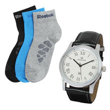 maxima 20880LIP White Analog Watch with 3 pair socks Just in Rs 499