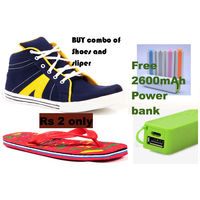 branded Shoes slipper and Free Power bank of 2600mAh just in Rs 2, 9, 9