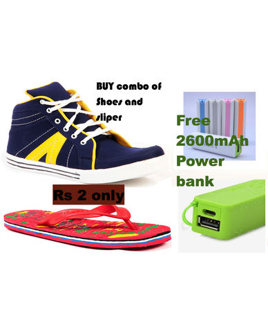 branded Shoes slipper and Free Power bank of 2600mAh just in Rs 2