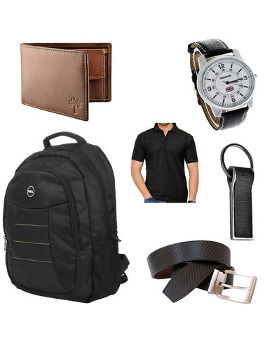 Combo Of dell Backpack With RBk Watch, Belt, woodland Wallet, Keyring And Tshirt