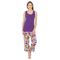 Floret tank top & capri set, s, purple & natural
