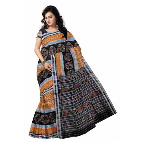 OSS7325: Handwoven brown Cotton Saree for exclusively Puja