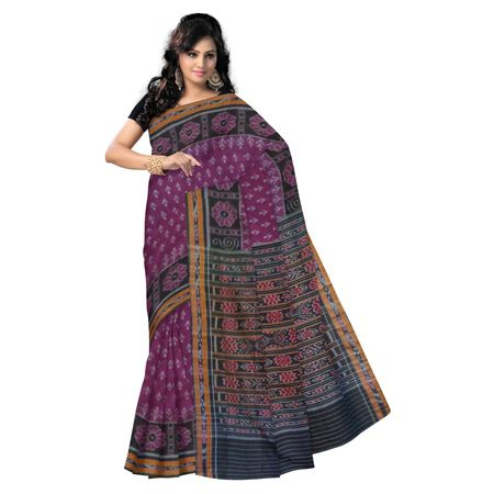 OSS7439: Traditional Purple color laxmi feet handwoven sari made in cotton to gift mother