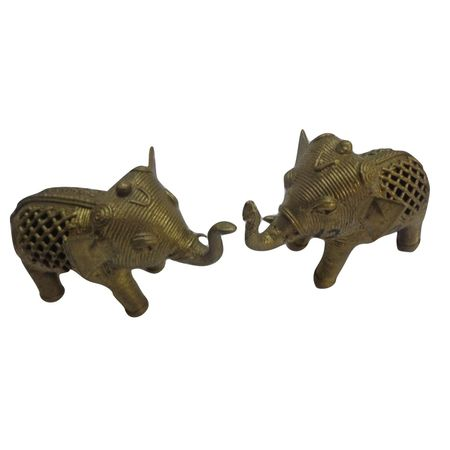 OHD012: Dhokra small elephant set for puja room