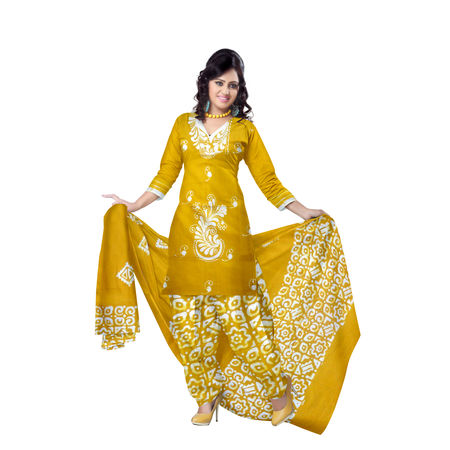 OSSWB9030: Batik design Mustard color ladies Dress material