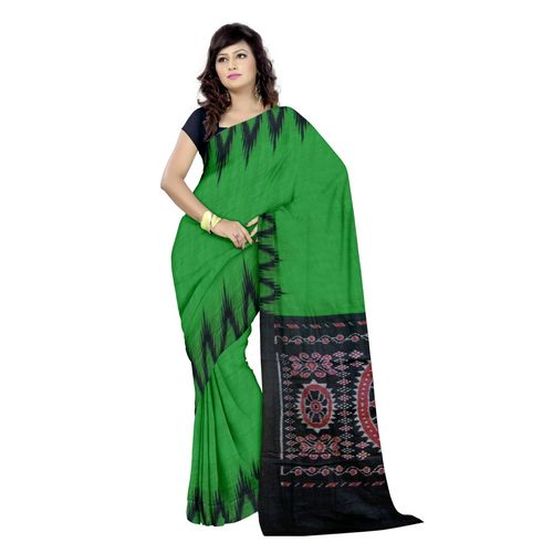 OSS7328: Handloom Green color Cotton handloom ikat saree on puja offer