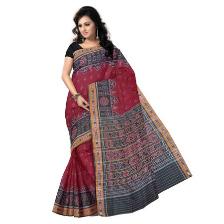 OSS7324: women's favorite Maroon Handwoven cotton saree with best laxmi feet design for festival wear