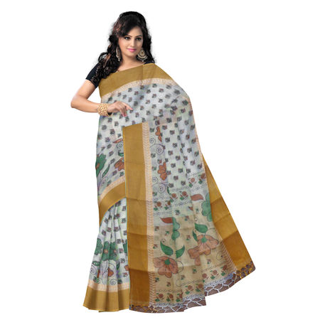OSSWB9023: Block Print handwoven west Bengal Cotton saree