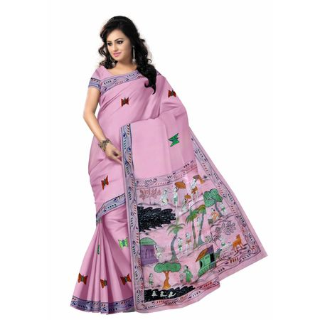OSS20106: New color and motif pata chitra sari for bridal wear