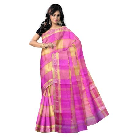 OSSWB9006: Pink with Yellow Handwoven cotton sarees