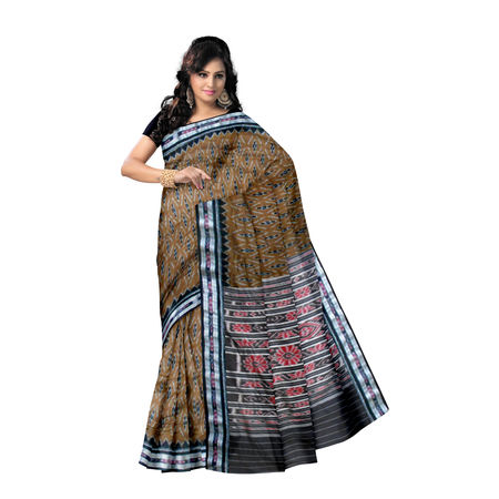 OSS7421: Brown color handloom mersidised cotton saree of odisha