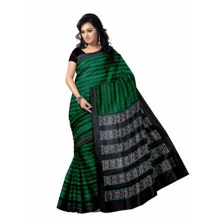 OSS5020: Green with Black Check design Sambalpuri Silk Saris of odisha