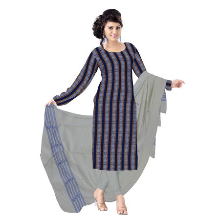 OSS1034: Beautiful Traditional Dark Blue & White Traditional Ikat(tie & dye) cotton Dress Material