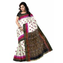 OSS271: Silk double border IKAT Saree by Nuapatna weavers with best handloom designs