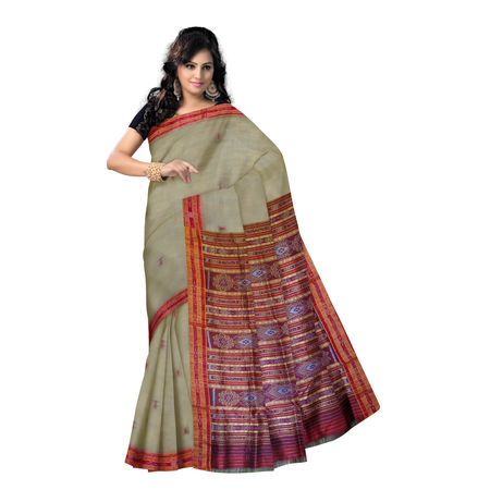 OSS857: Deep Tusser color Silk Saree with Maroon