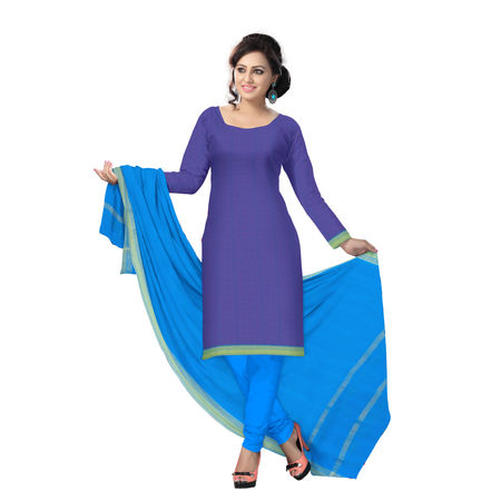 OSSTG6230: HandLoom Pure Dual color with Sky Blue Mangalagiri Ladies Cotton Dress Material Sets