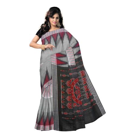 OSS9058: Grey with Black temple design handwoven Cotton Saree