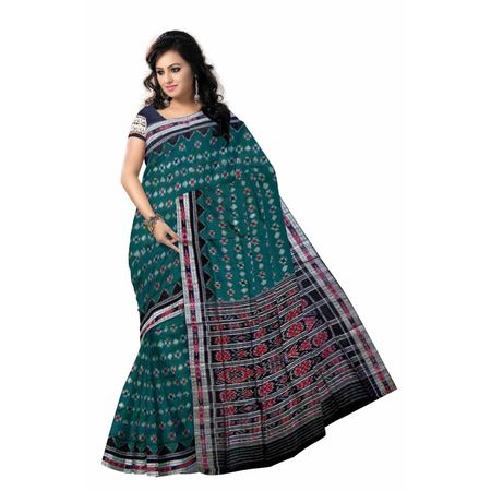 OSS7302: Deep Green Handloom cotton sari gift to your lovely Grandmother