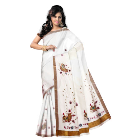 OSSKL003: White color Peacock designed handloom kasavhu cotton sarees.
