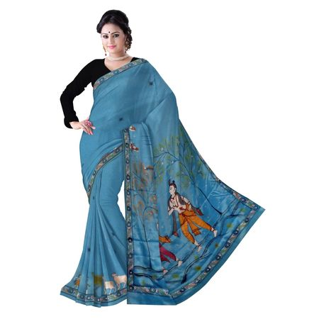 OSS300096: Light Blue color handpainted Patachitra Synthetic Silk saree for party wear.