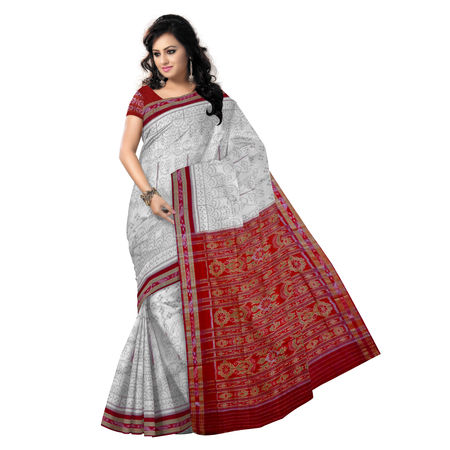 OSS9092: Tusser with Maroon color handwoven Cotton Saree.