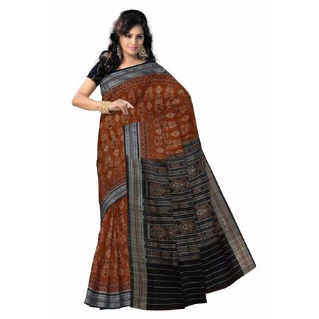 OSS7534: Traditional Brown Ikat(Tie and Dye) Handwoven cotton saree