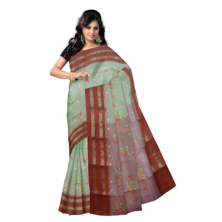 OSSWB9022: Flower design Light Ghee color handwoven Cotton saree