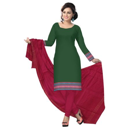 OSSTG6215: Green with Maroon Handwoven cotton salwar suit for office wear.