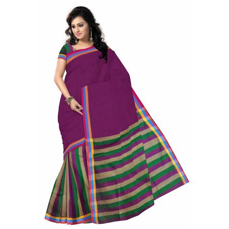 OSSWB030: Magenta color Indian handloom cotton sarees.