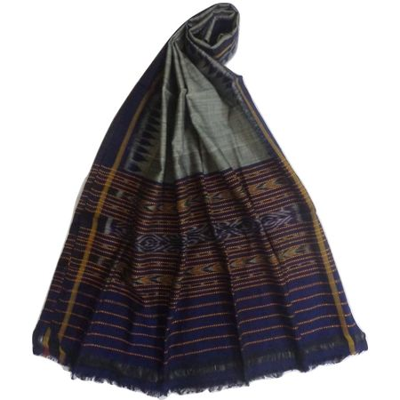 OSS108: Grey with Navy Blue color handloom cotton Dupatta