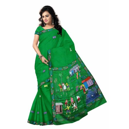 OSS20097: Green color Patachitra Silk saree with blouse piece online