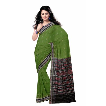 OSS7552: Light Green color cotton sarees of odisha.