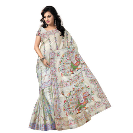 OSSWB9044: Peacock Design Embroidered Tussar Silk Saree of West Bengal Handloom Silk Saree.