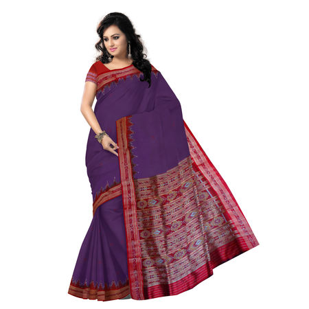 OSS207: Deep Purple with Maroon Handloom Silk saree