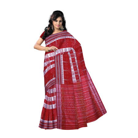 OSS7441: Light Beige with Red check design Kotki kotton ssari for puja wear