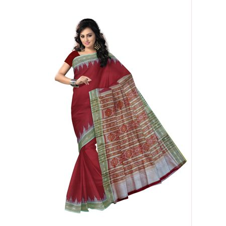 OSS5069: Maroon color handwoven silk saree for bridal wear