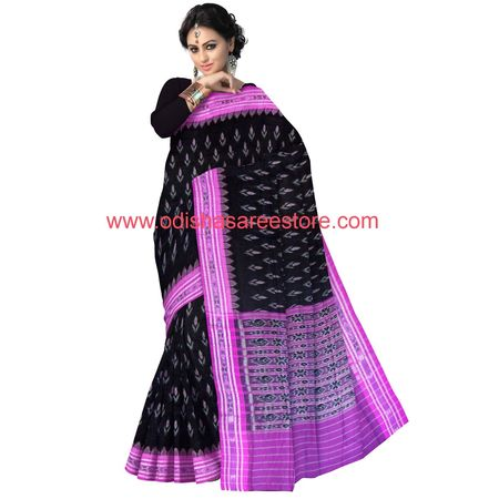 OSS7504: Black with Magenta Handloom best cotton saree for party wear
