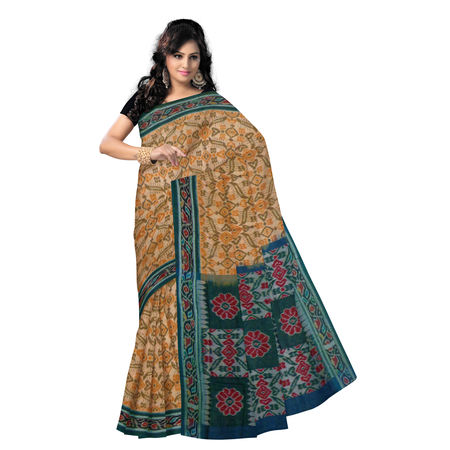 OSS9096: Spider design Handwoven Sambalpuri Ikat Cotton Saree in Light Peach with Green.