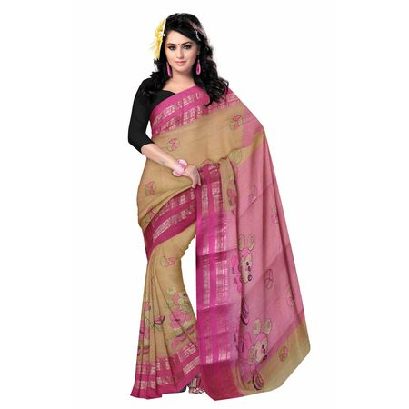 OSSWB0100: Buy Bengal Handloom Sarees online with mickey mouse design