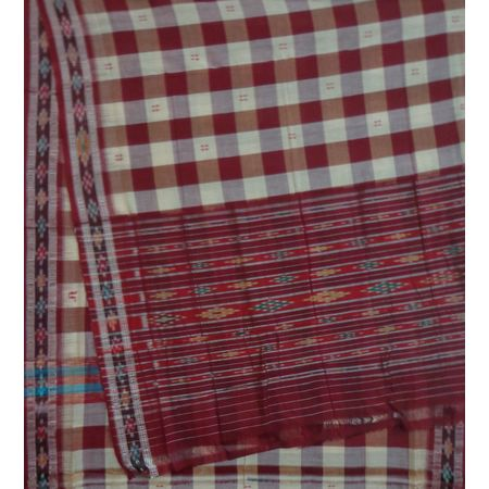 OSS9132: Maroon with Buti and Check Design Ethnic Cotton Saree