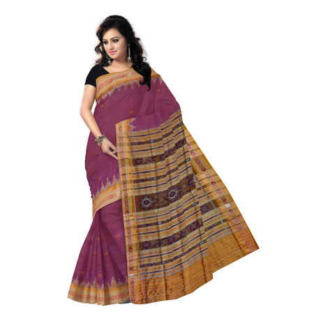 OSS3279: Maroon color odisha handloom silk saree for festival wear.