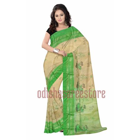 OSSWB022: Off white Simple design cotton sarees.