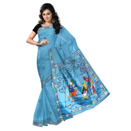 OSS300122: Light Blue color hand painted patachitra Silk sarees for party wear.