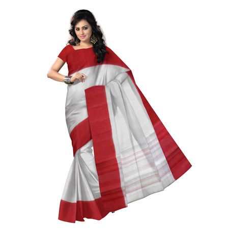 OSSWB9036: White with Red Border handloom Cotton Saree for puja wear.